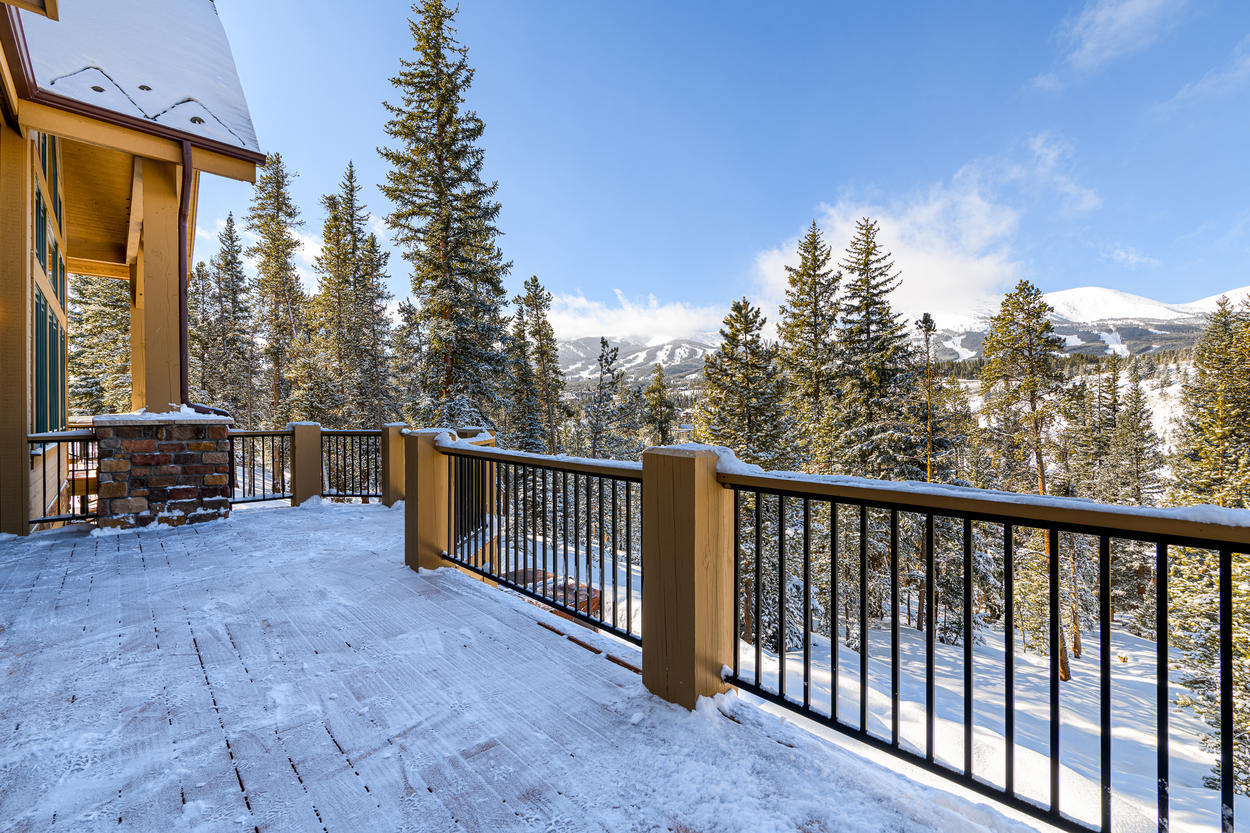 From the deck, you'll have sweeping views of the ski runs at Breckenridge