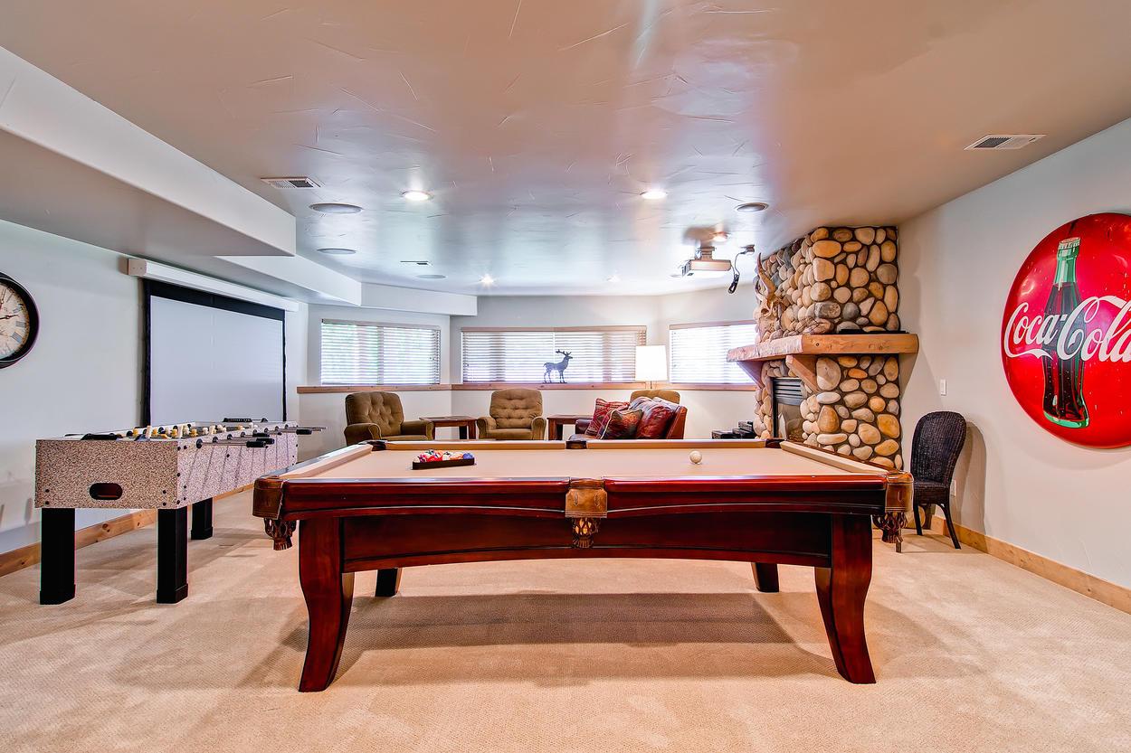 Foosball and pool table.
