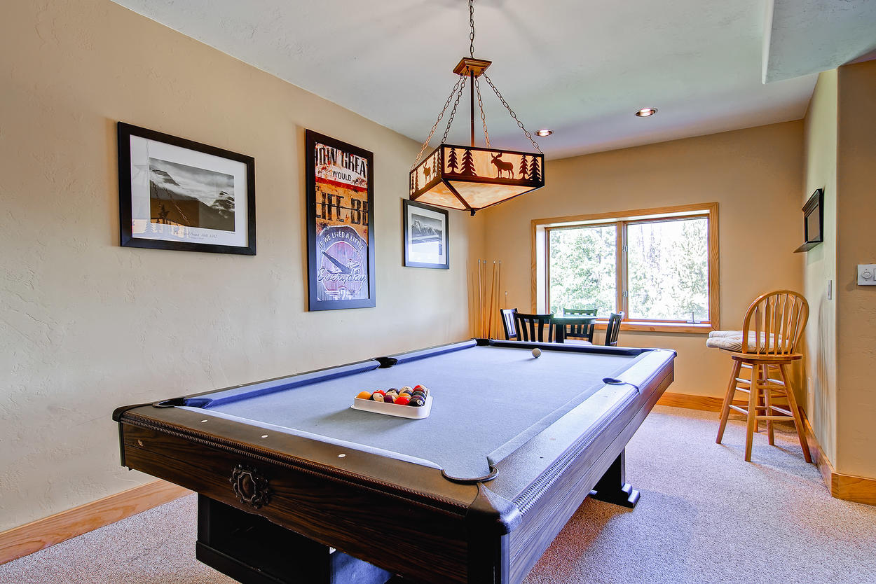 Another view of the pool table in the downstairs game room