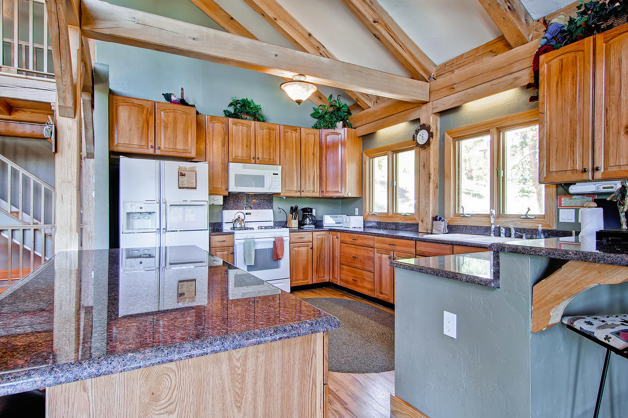 The kitchen offers ample counter space for several cooks.
