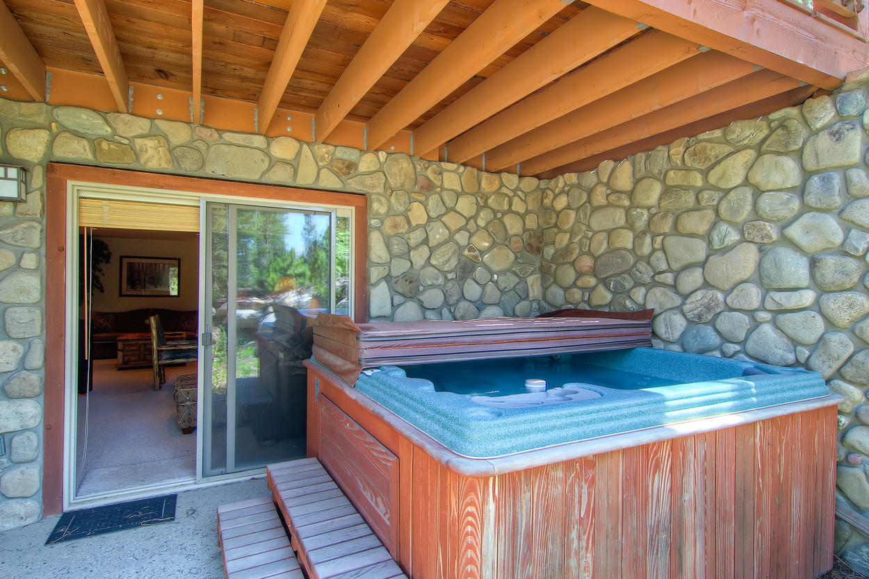 Relax with 7 of your besties in the private hot tub.