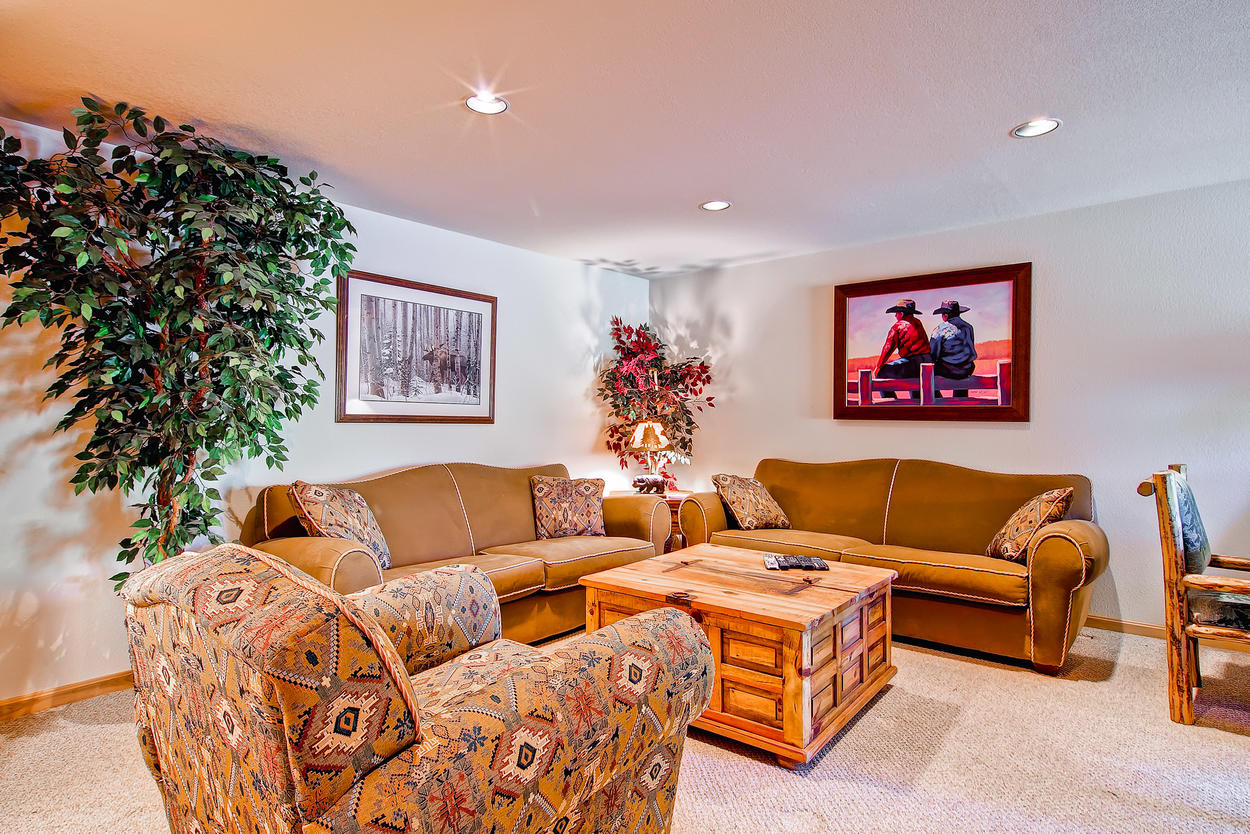 The lower level entertainment room is a great place to watch movies. We recommend a western.