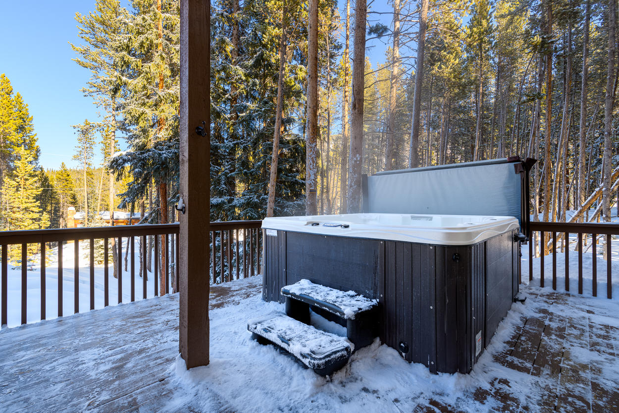 From the lower level family room, access the private outdoor hot tub on the deck.