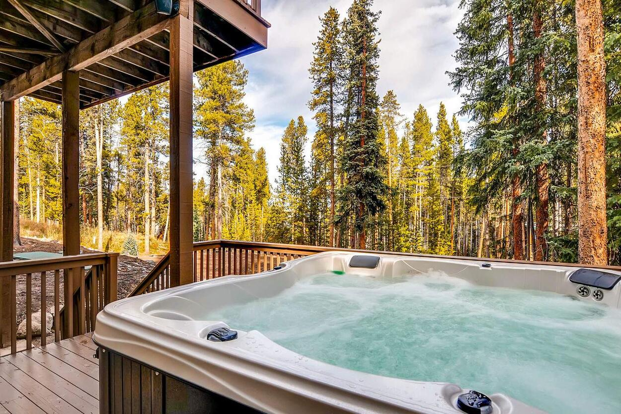 Enjoy a relaxing soak in the private outdoor hot tub