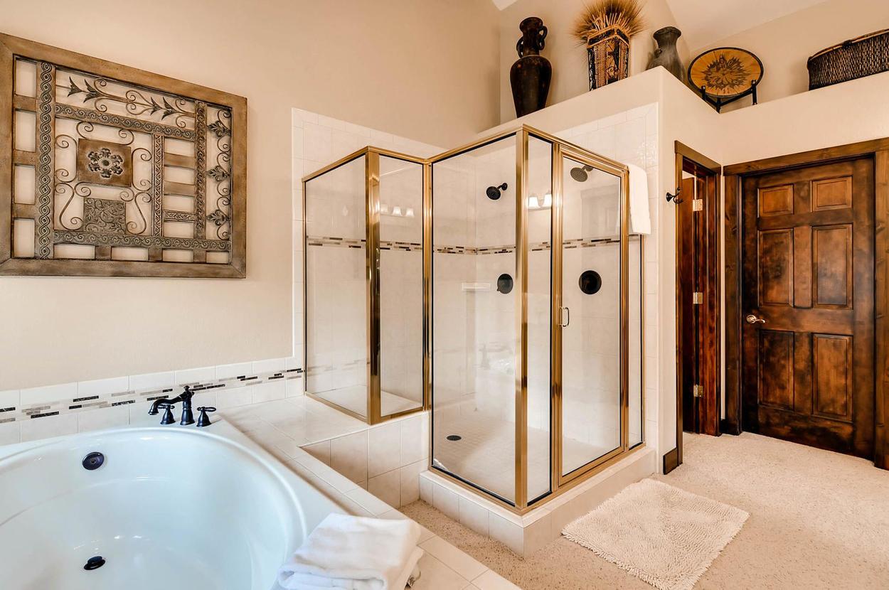 Master ensuite bathroom shower and tub