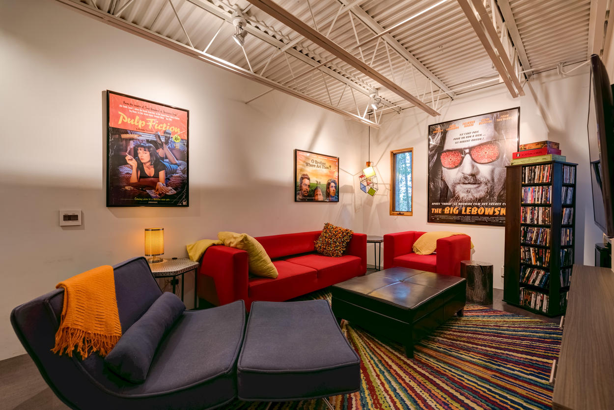 You'll also find the media room has an expansive DVD collection, making it the perfect spot to curl up with family and friends for a cozy movie night.