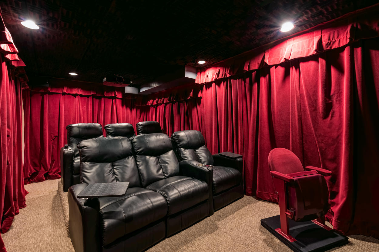 The home theater is in a quiet part of the lower level and is soundproof, so it's a great escape for when you want to hunker down and get away from it all.