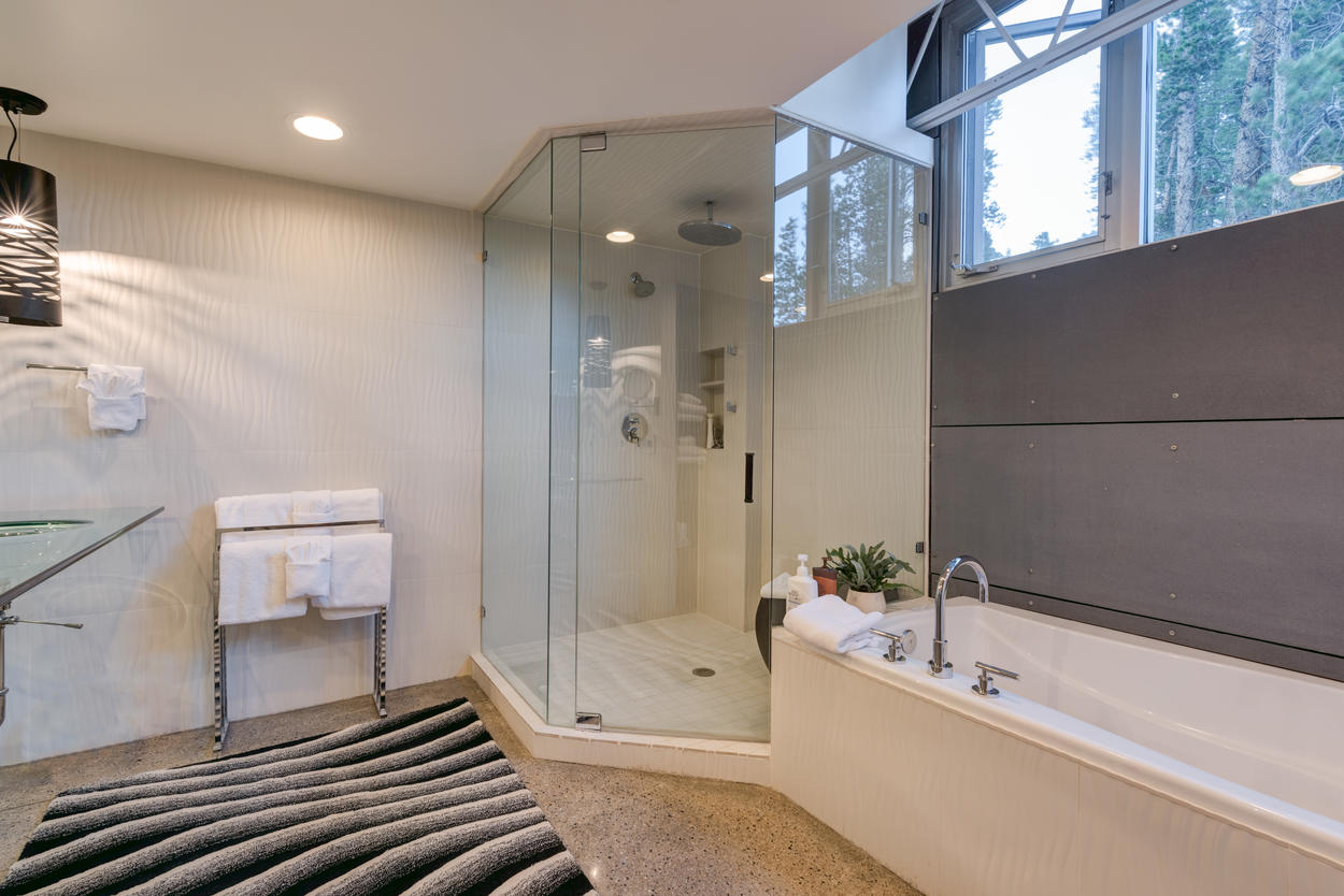 A separate shower and tub adorn the master ensuite.