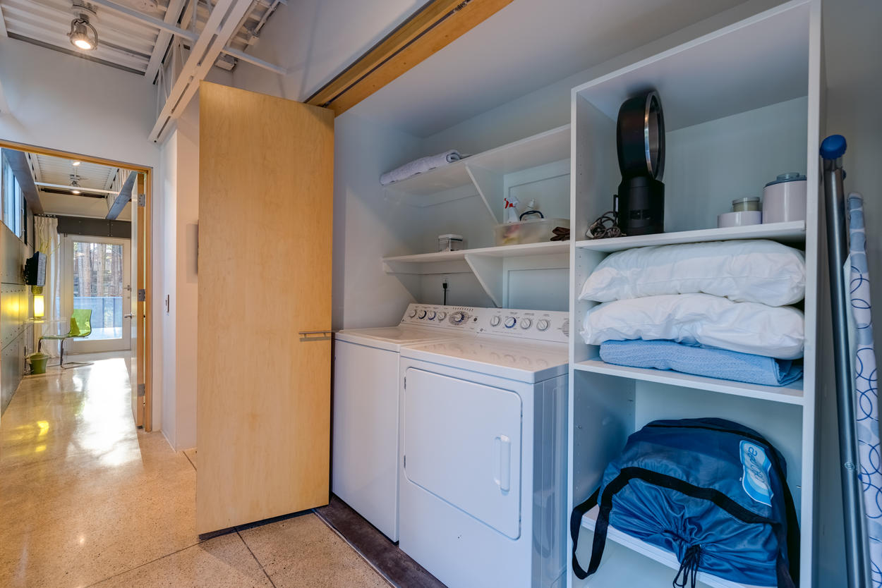 There's also laundry on the upper floor, and for added convenience, you'll find fans, humidifiers, an iron and board, and more amenities.