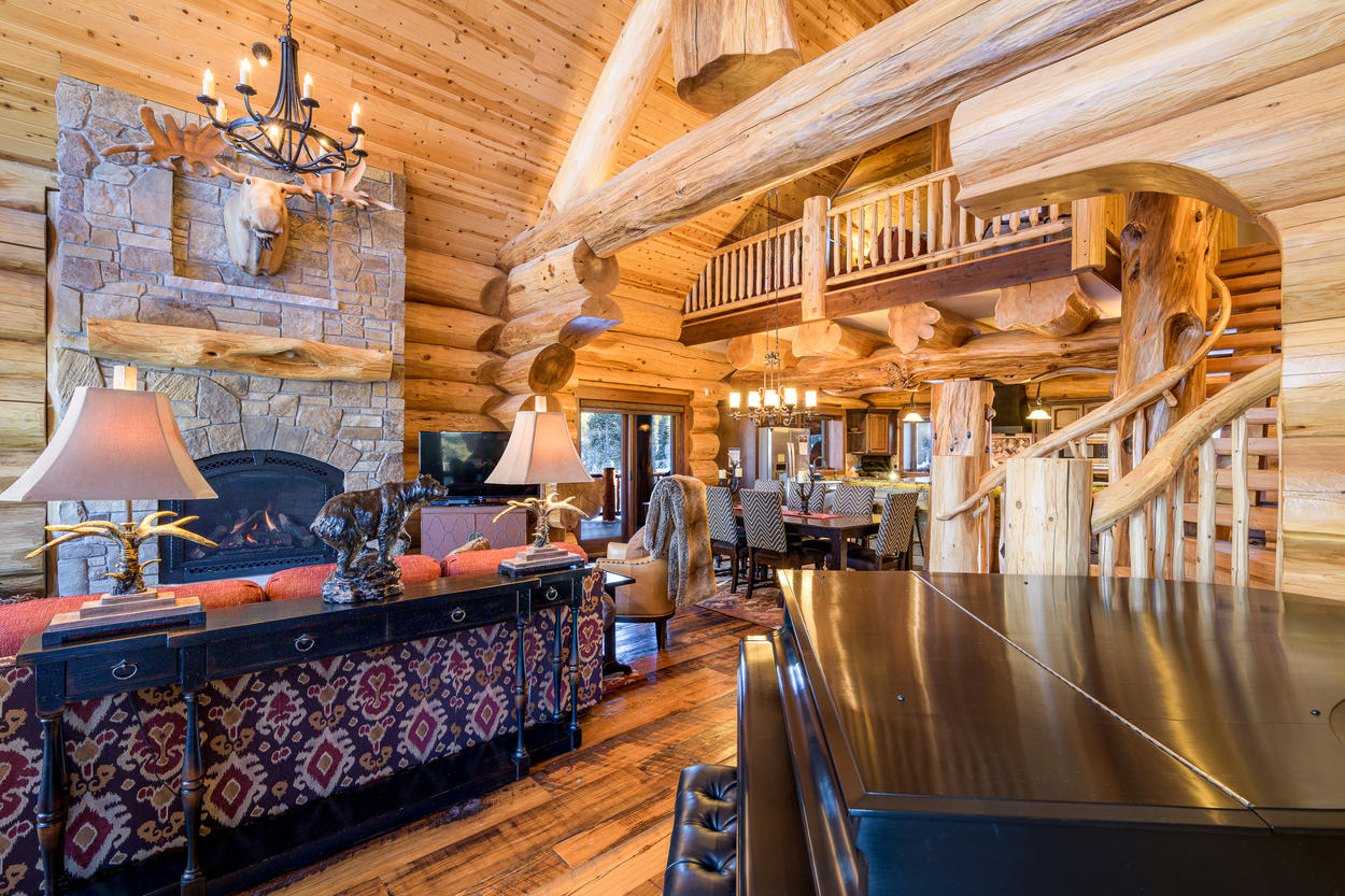 The great room is a part of a large open concept living area.