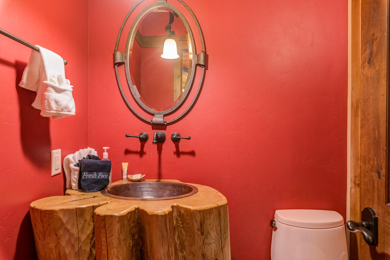 The main level also features a convenient powder room.