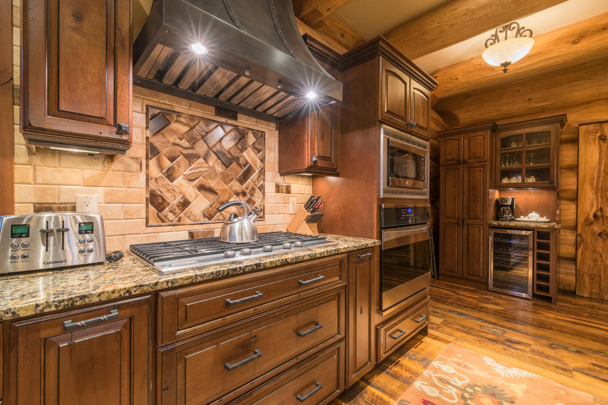Cooking is a joy with the five-burner gas stove and other high-end appliances.