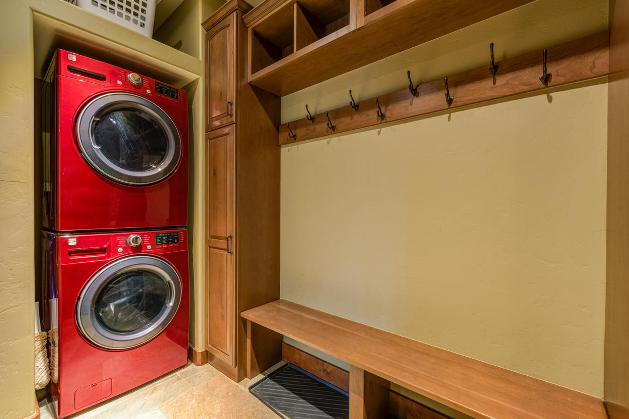 Keep all your ski gear in the convenient storage and second laundry room.