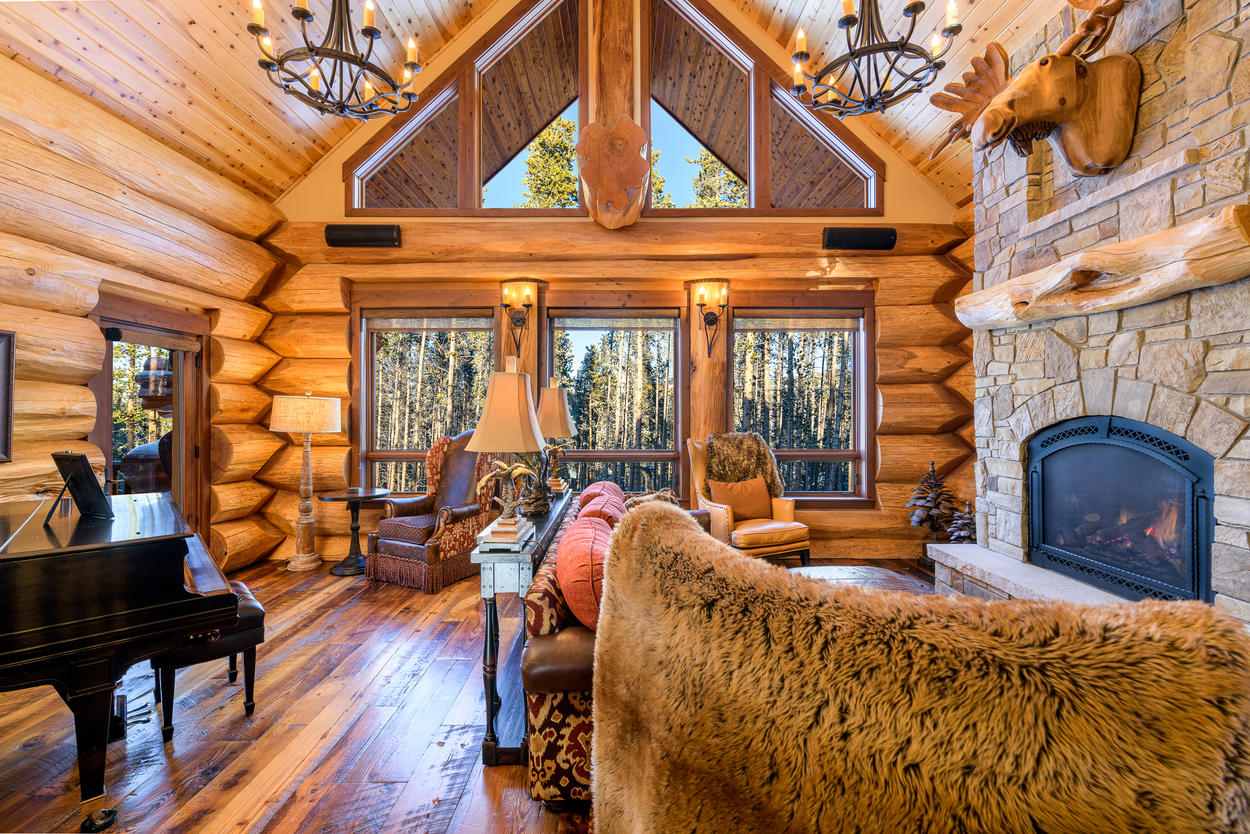 The interior is an idyllic mountain cabin where you'll relax the moment you step inside.