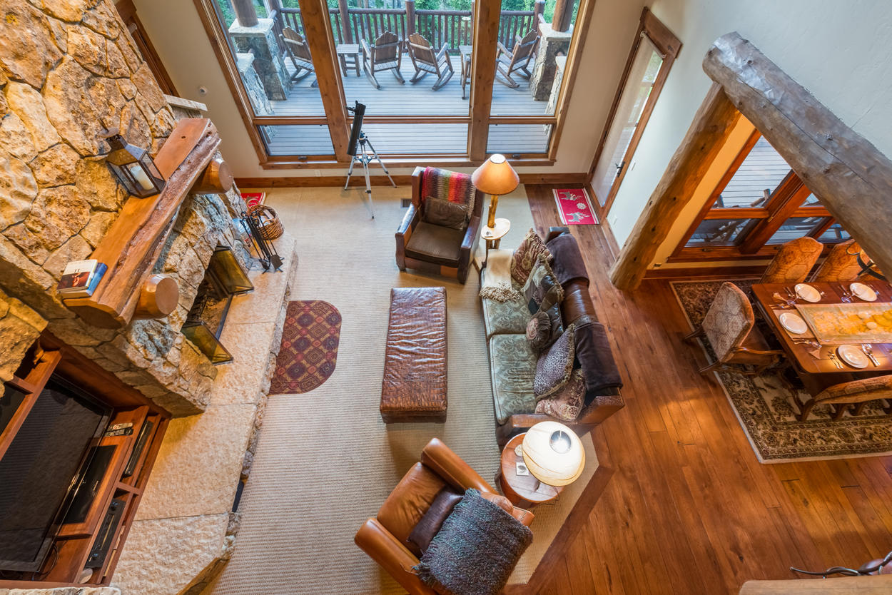 From the upstairs loft, look down on the cozy great room.