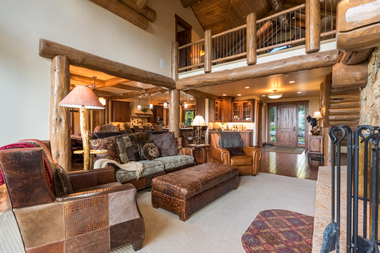 High lofted ceilings give the great room a truly grand feel.