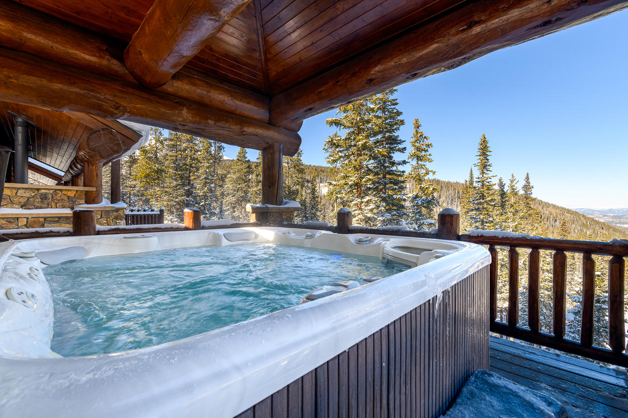 Enjoy a soak after a long day on the slopes in the oversized hot tub on the deck.