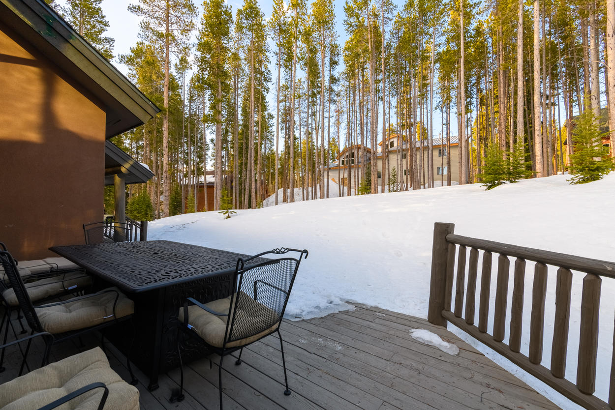 The deck includes an outdoor dining set and gas grill.