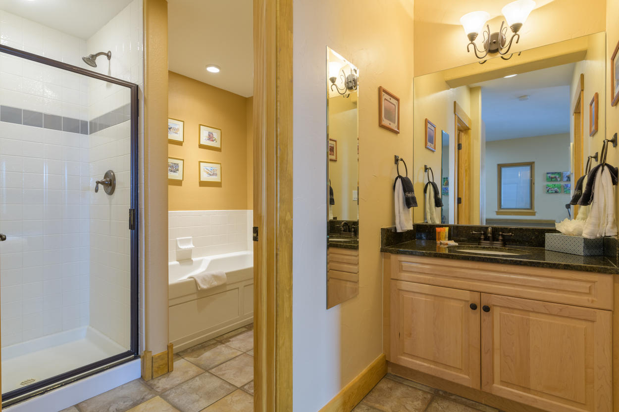 A shared bathroom on the lower level has a separate sink area, a walk-in shower, and a large tub.