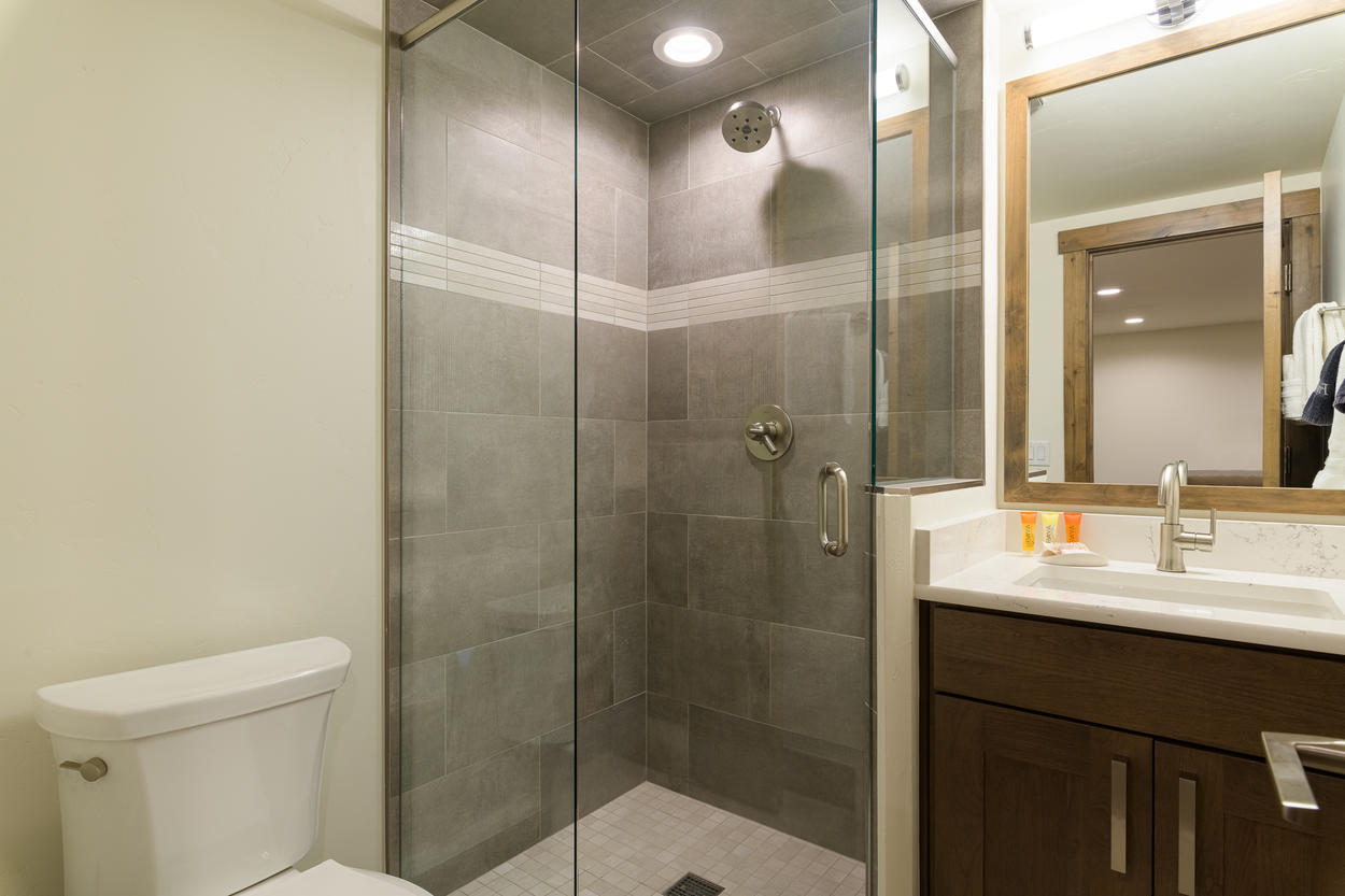 There is an additional full bathroom on the lower level.