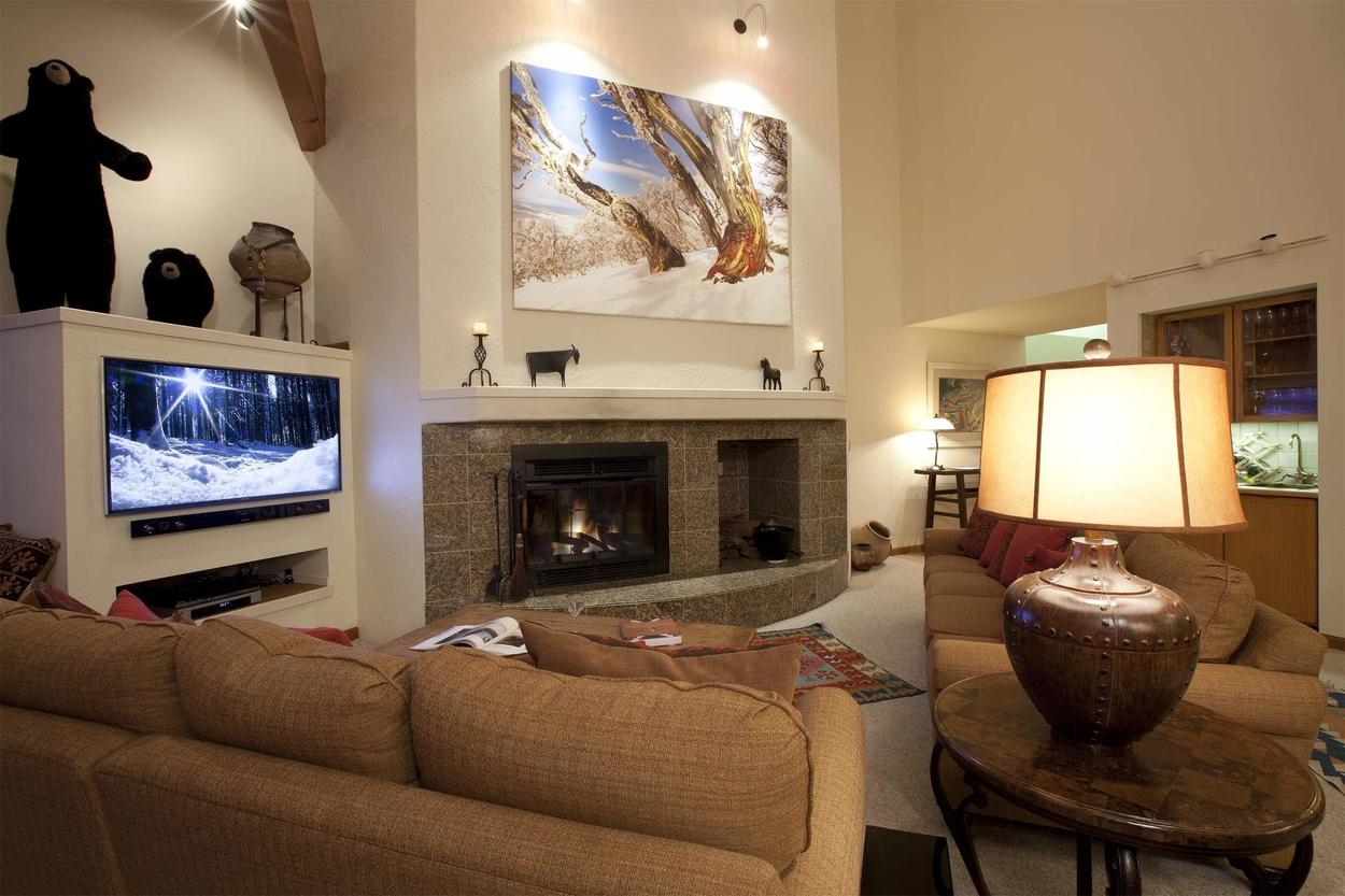 It doesn't get much better than watching a movie on this huge flatscreen TV (with a new sound system) to the warmth of the fire.