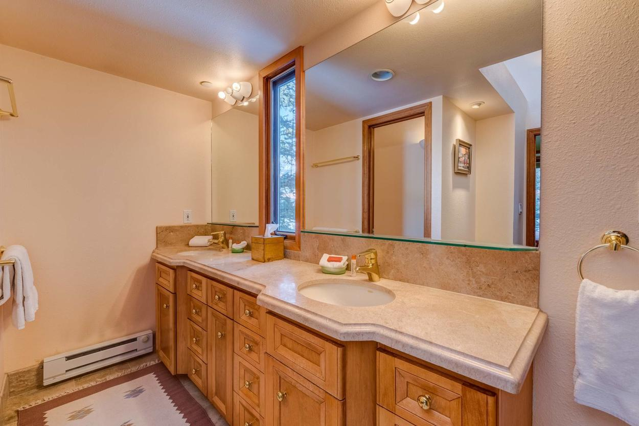 The double vanity offers plenty of space for getting ready.
