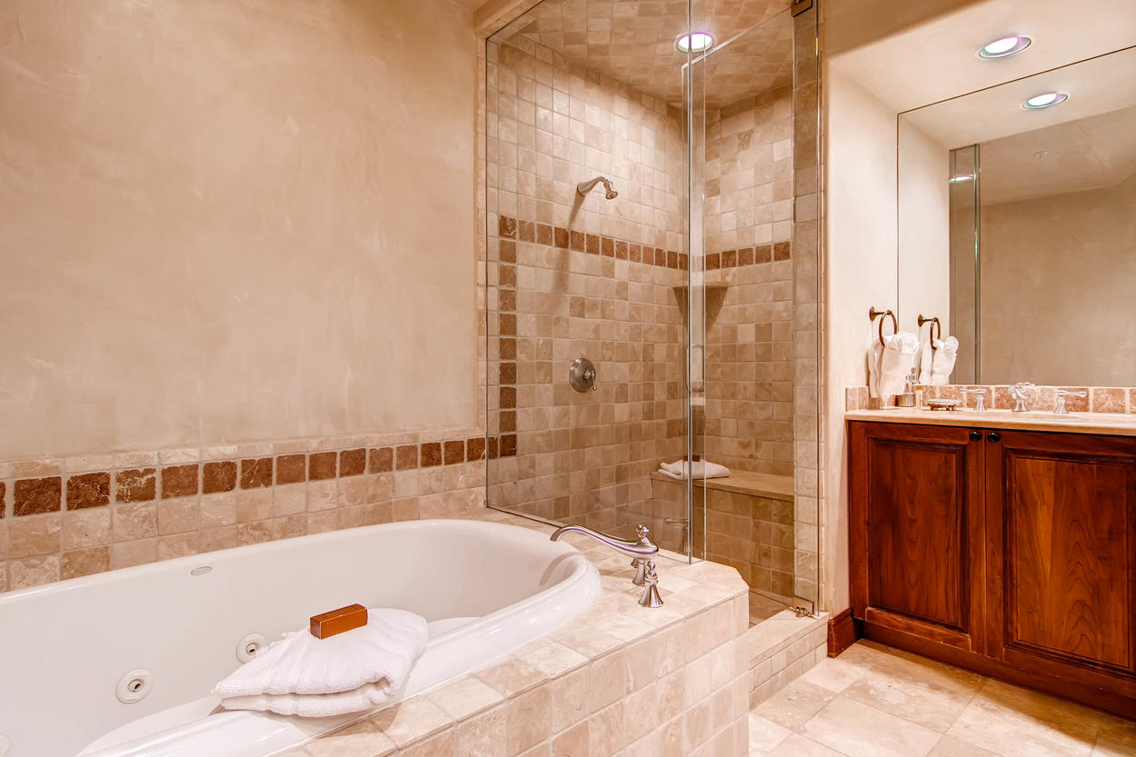 A view of the private bathroom to Master Bedroom #1.