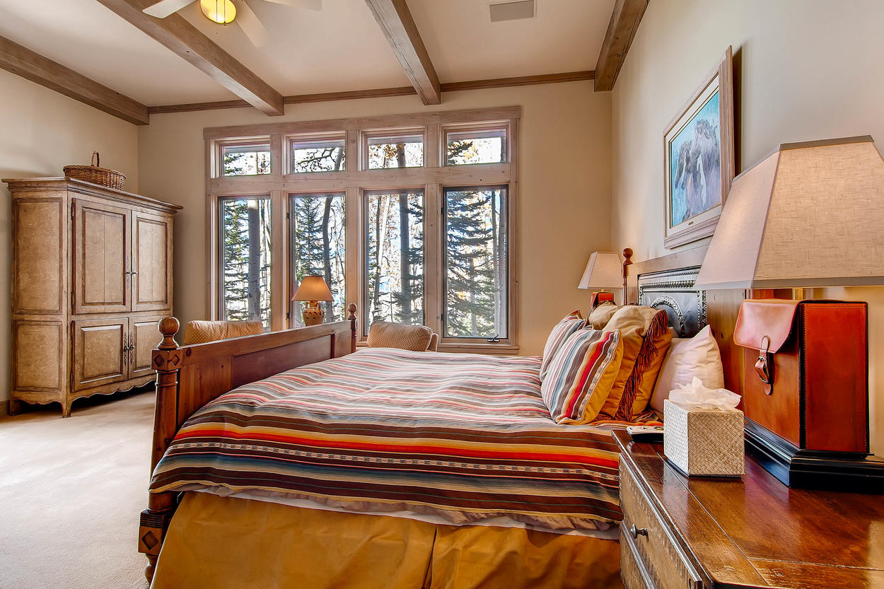 The master bedroom is the perfect place to chill out after a day on the slopes.