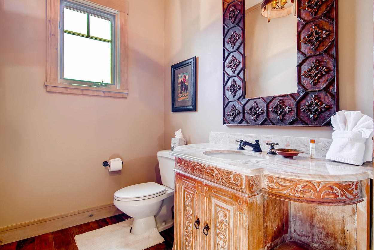 The powder room is perfect for quick touch-ups.