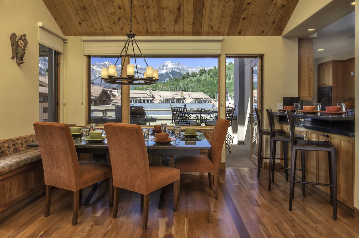 Enjoy your dinner while you gaze over Mountain Village from your dining room.