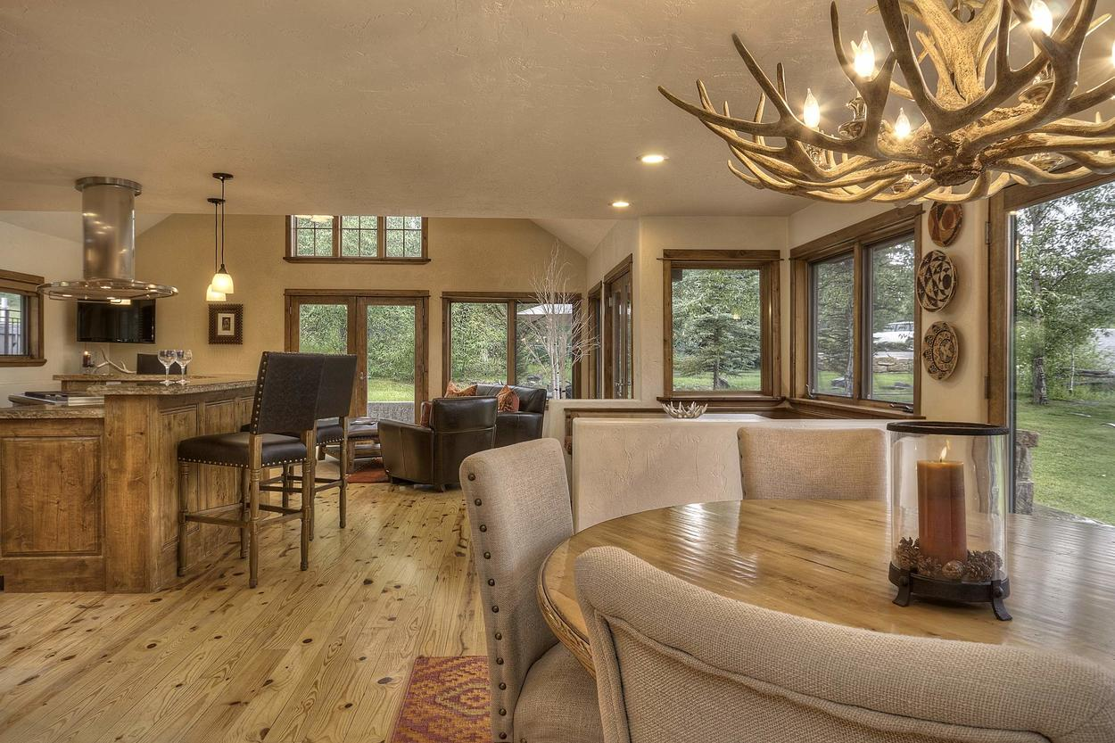 This home has an open concept floor plan - allowing the whole family to congregate in one room.
