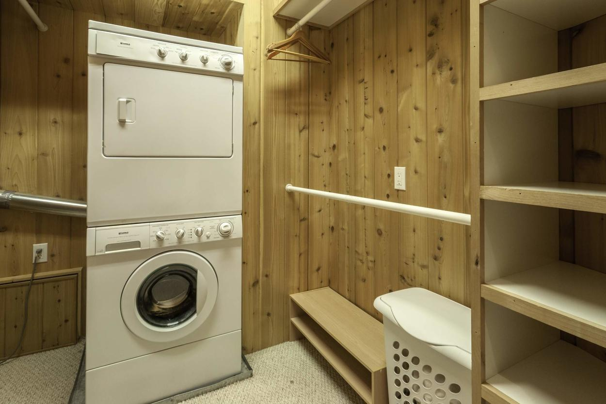 The home is equipped with a washer/dryer and some space to hang up wet ski clothes.