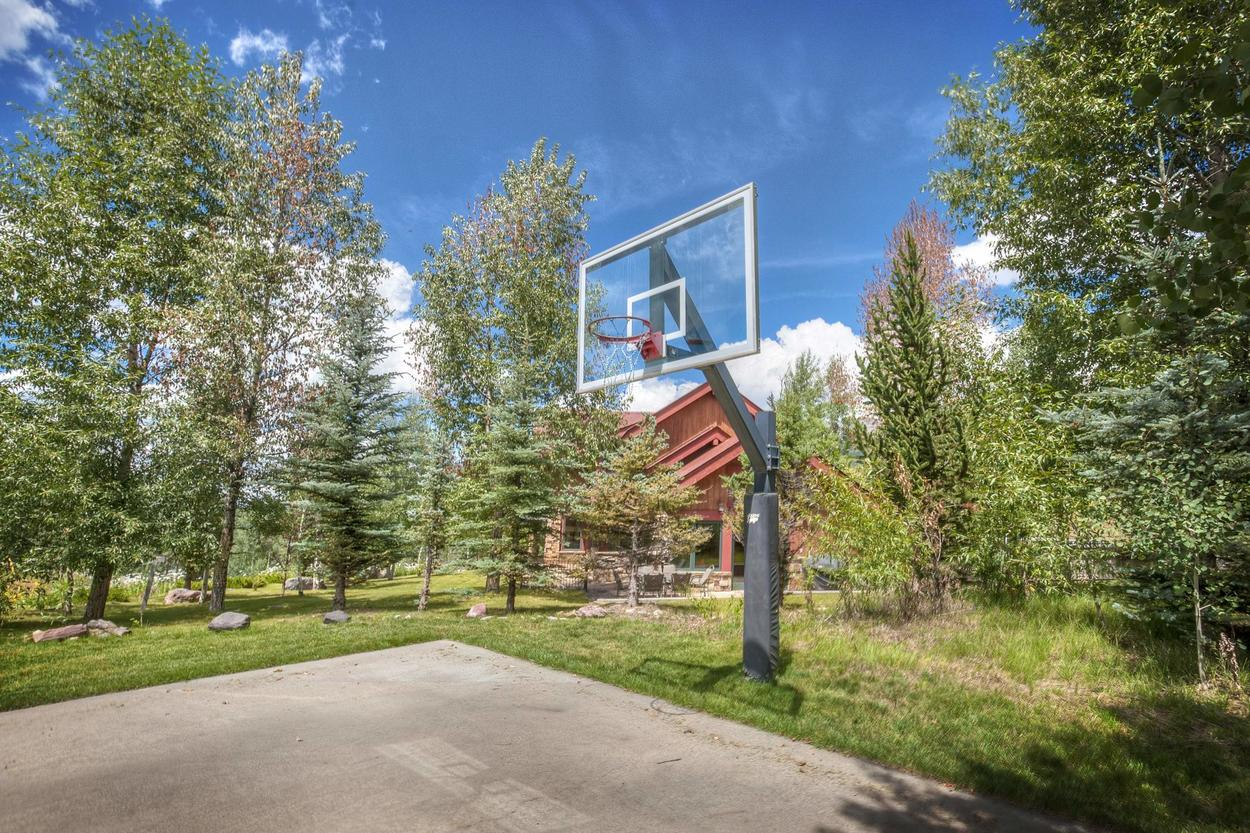 Play a little friendly one on one at the basketball courts and tennis courts right next to the home.