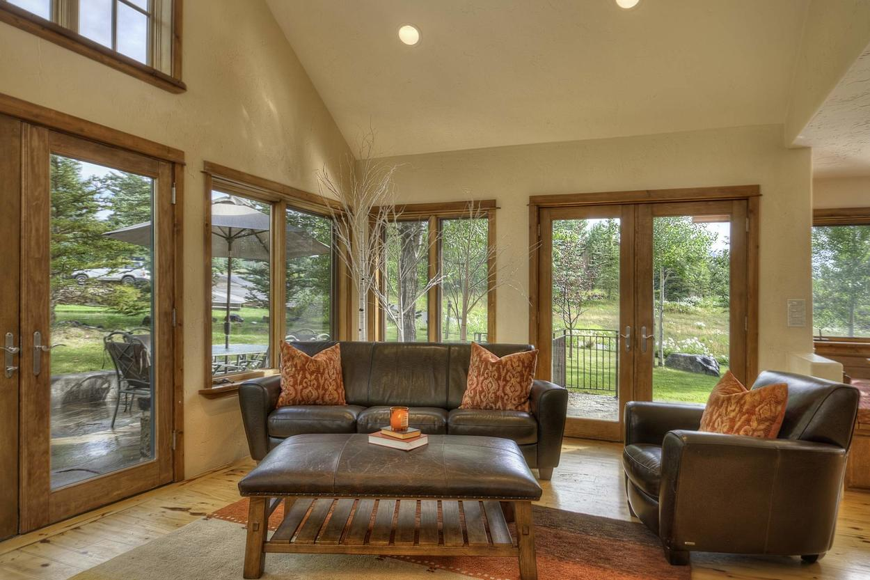 Enjoy a morning cup of coffee in the bright sitting area.