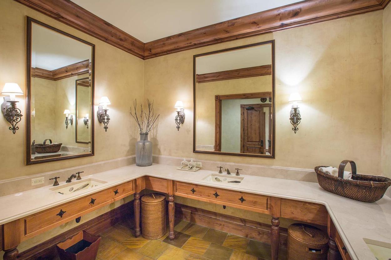 Sinks in the men's locker room.