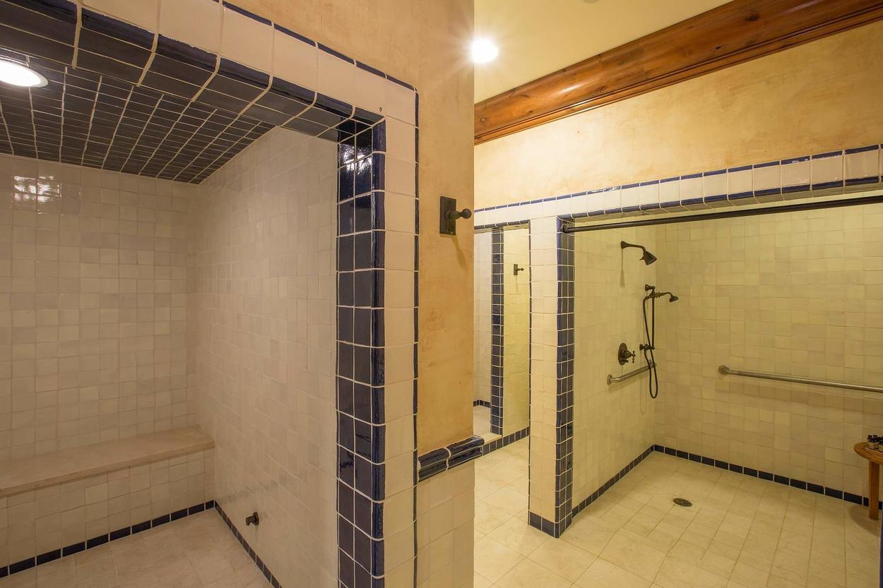 The ladies showers are spacious for after the pool.