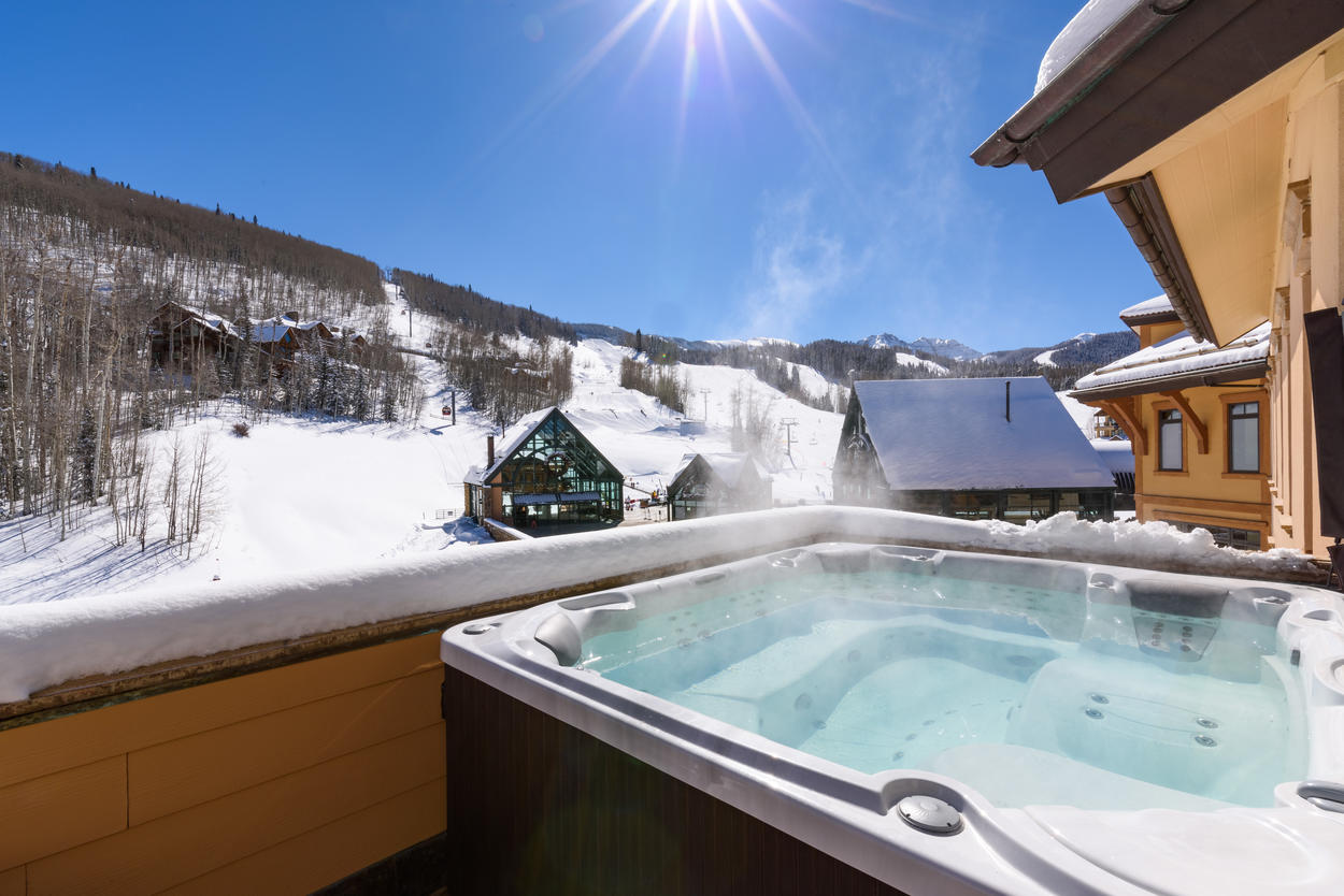 Have a good long soak any time of the day or night in the eight-person hot tub.