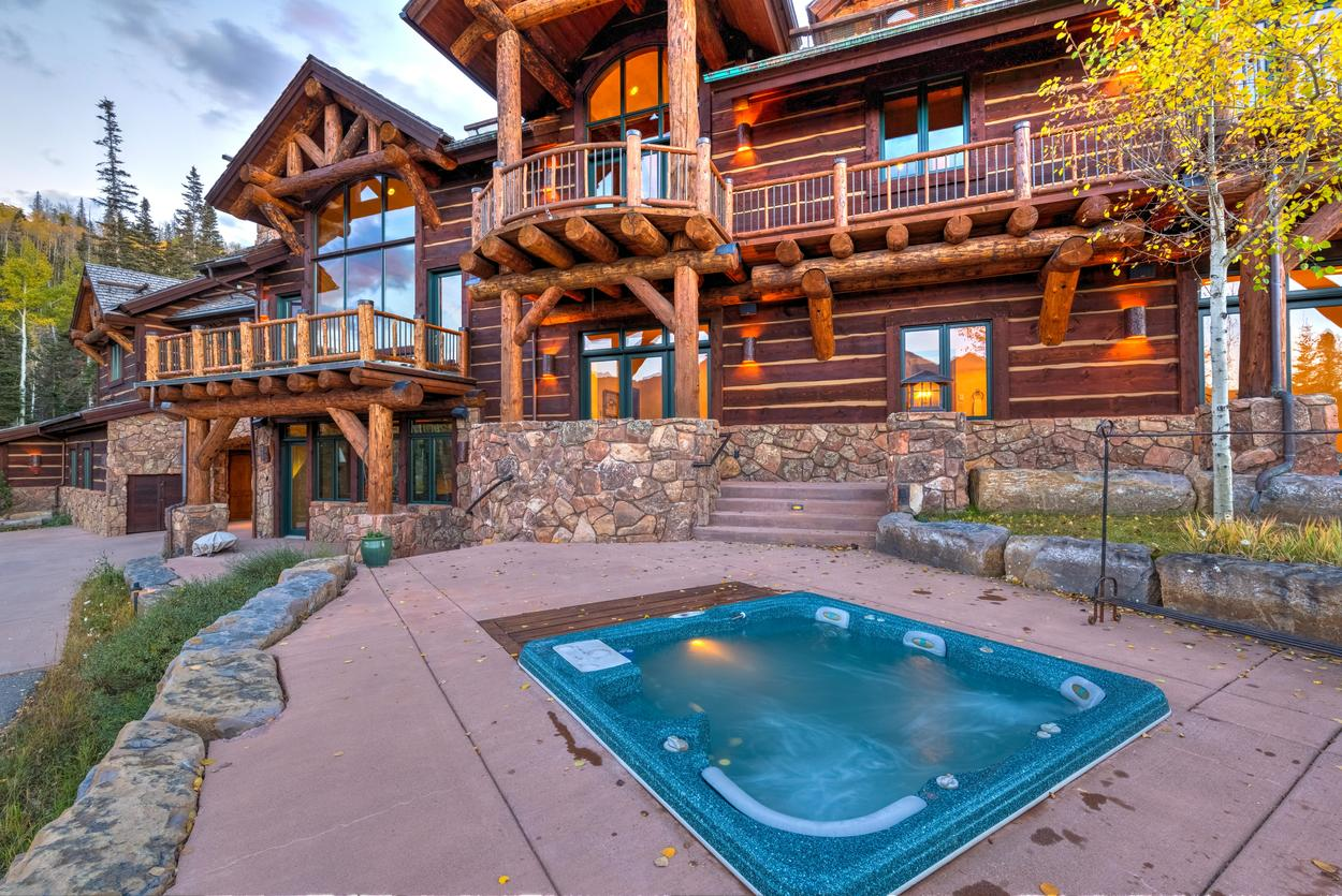 The in-ground hot tub on the lower patio offers plenty of room after a day exploring the mountains.