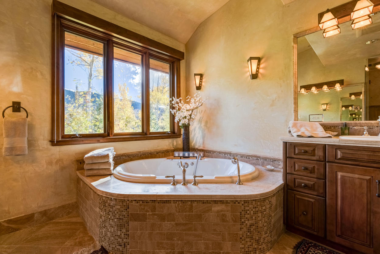 The Master soaking tub is a great way to wind down the day.