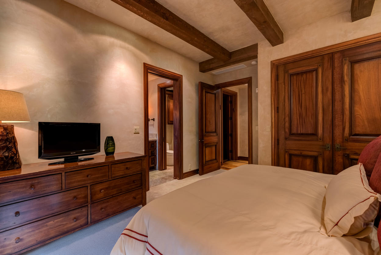 The lower level guest bedroom has a flat screen TV and its own ensuite.