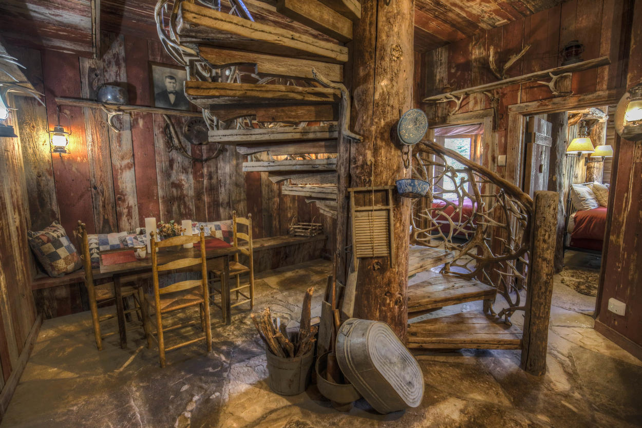 Follow the spiral staircase to the Hot Springs House kitchen.