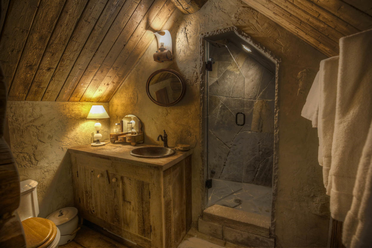 The attached bathroom features a walk-in shower and a pitched, solid-wood ceiling.