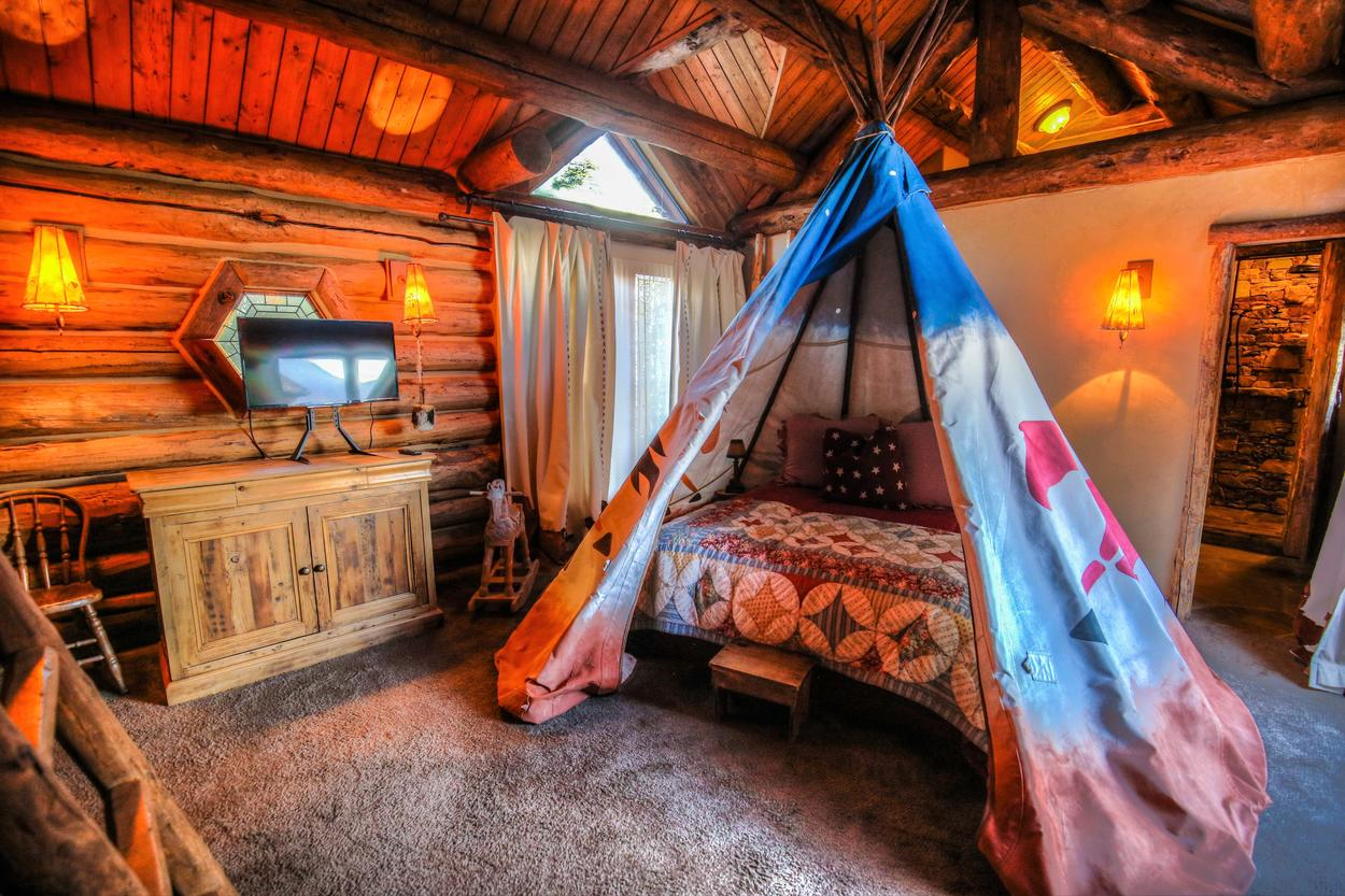The TeePee Room will delight young (and young at heart) visitors.
