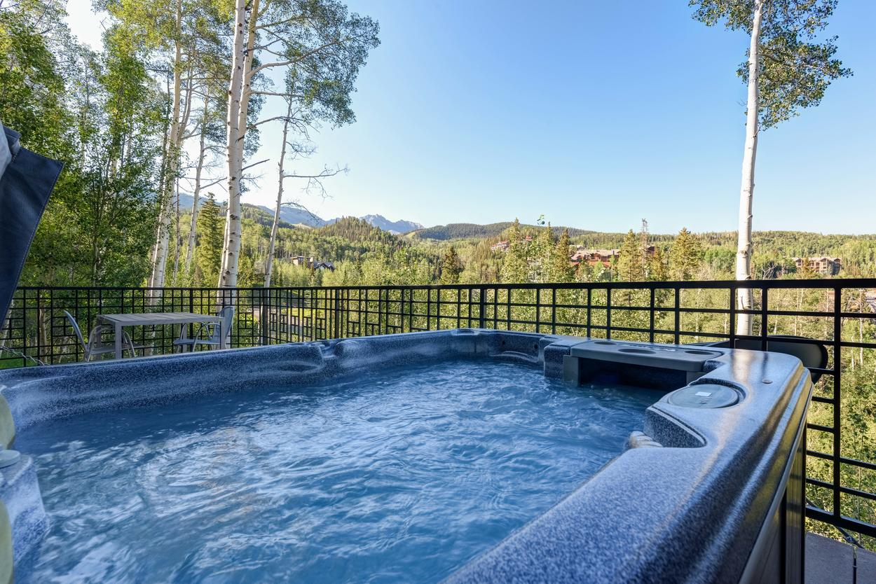 You'll feel like royalty overlooking your domain from the private hot tub.