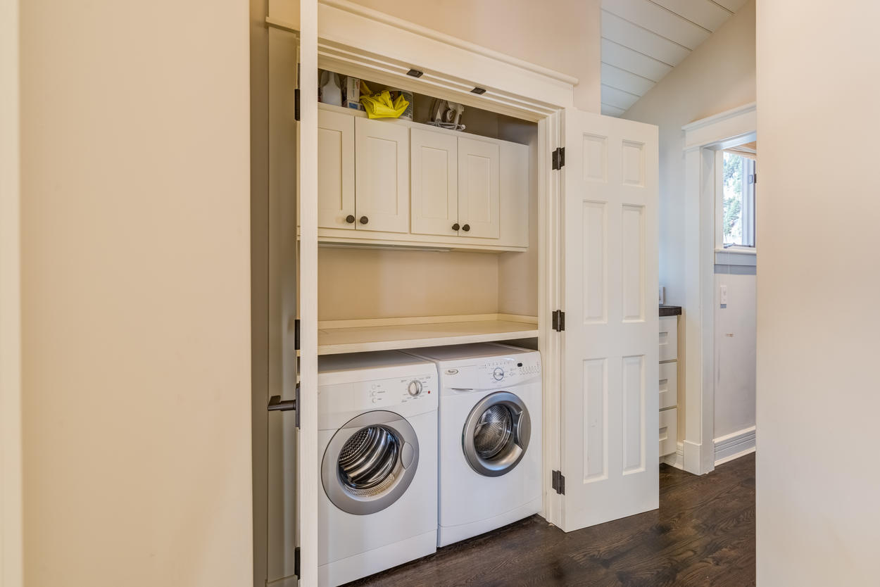 The main home features a full-sized washer and dryer.