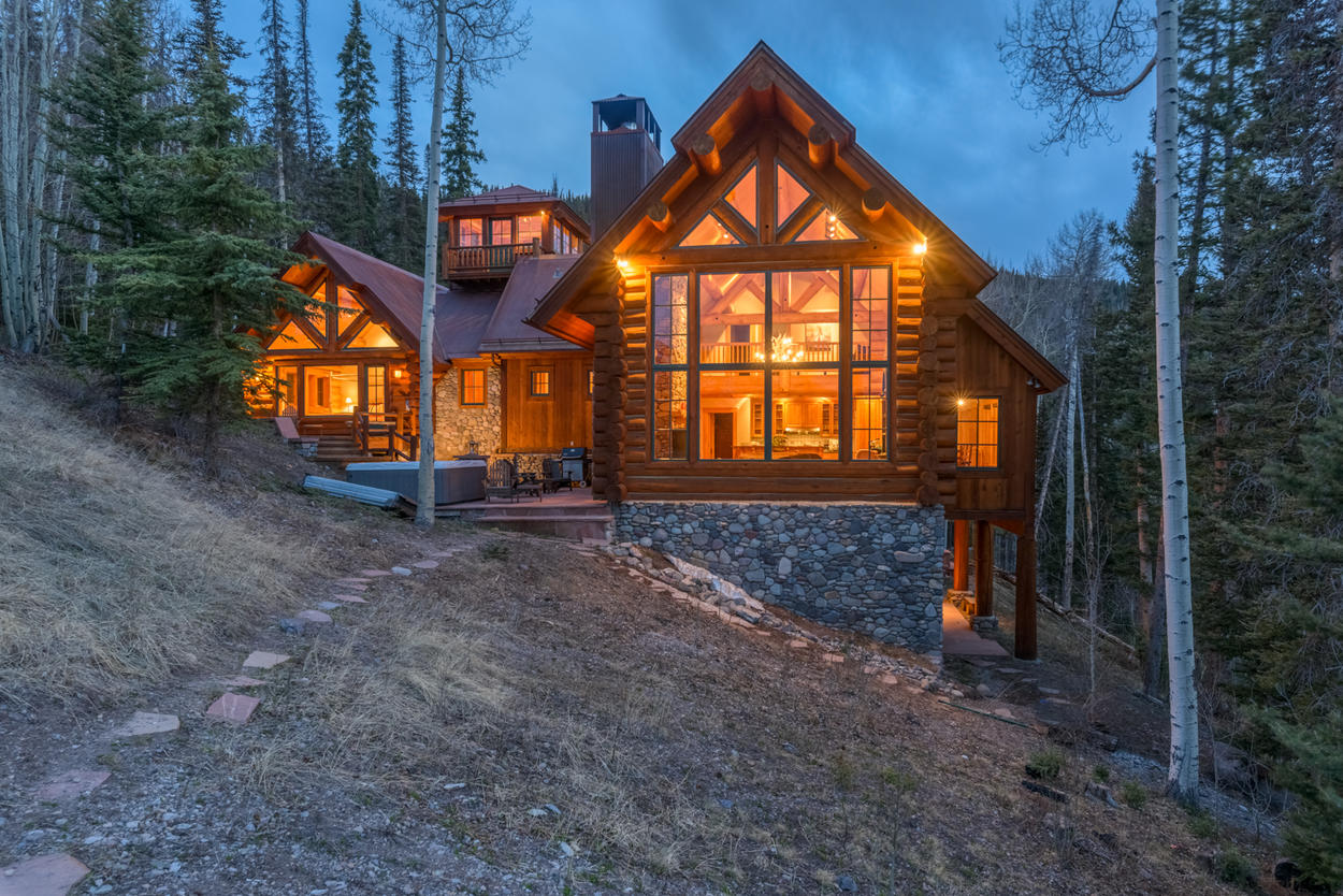 Set into a hill, this spacious home is perfect for your getaway.