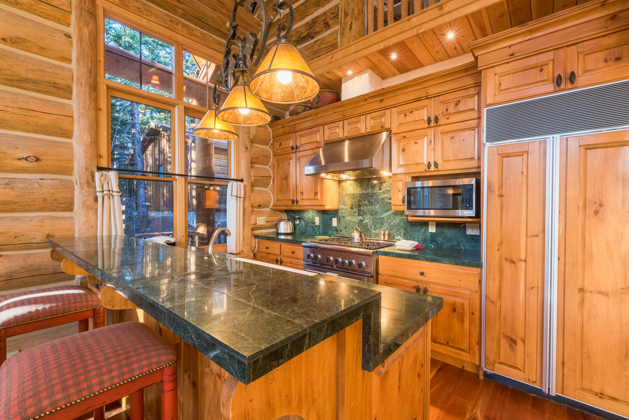 The kitchen offers plenty of counter space, while allowing you to converse with the rest of the group.