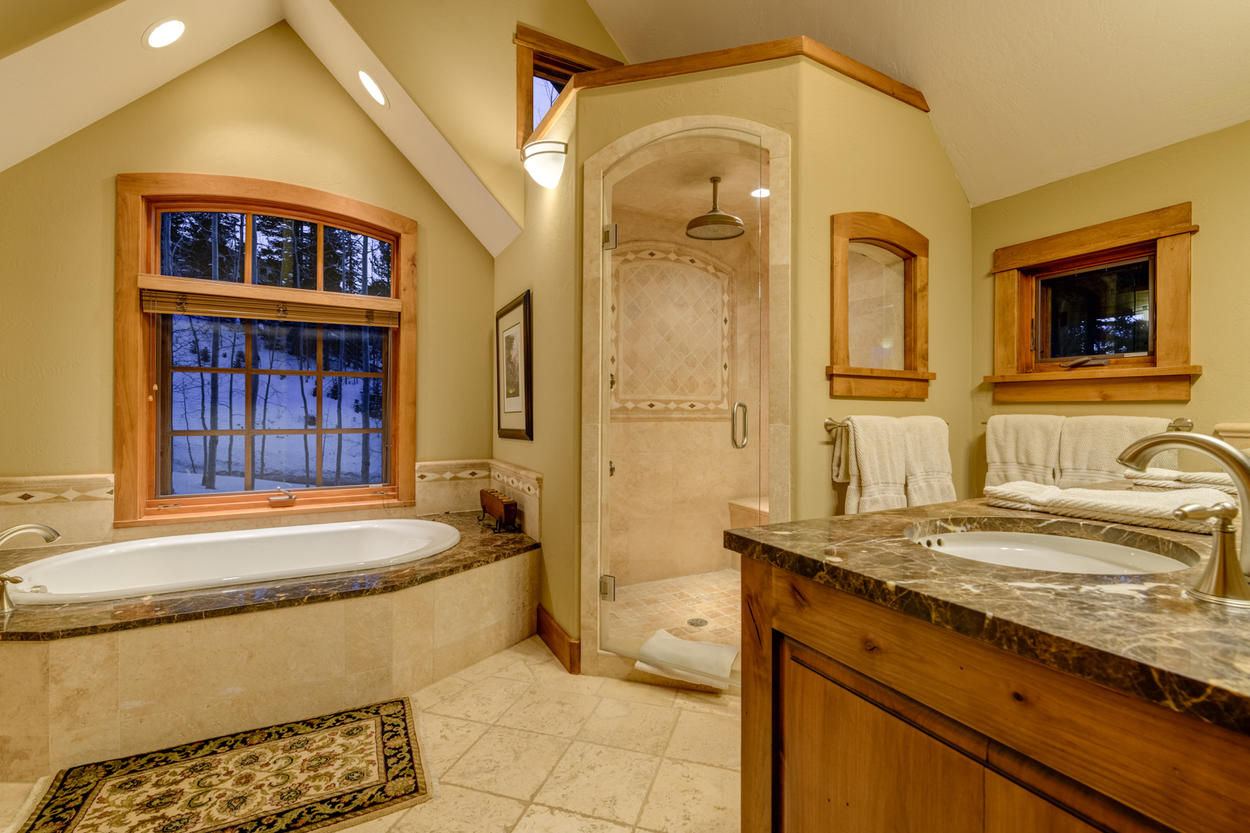 Greet the day through the bathroom windows in the Master Bathroom as you prepare for a breakfast in town