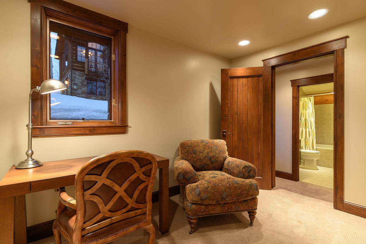 One corner of the guest house's lower level has a quiet office nook.