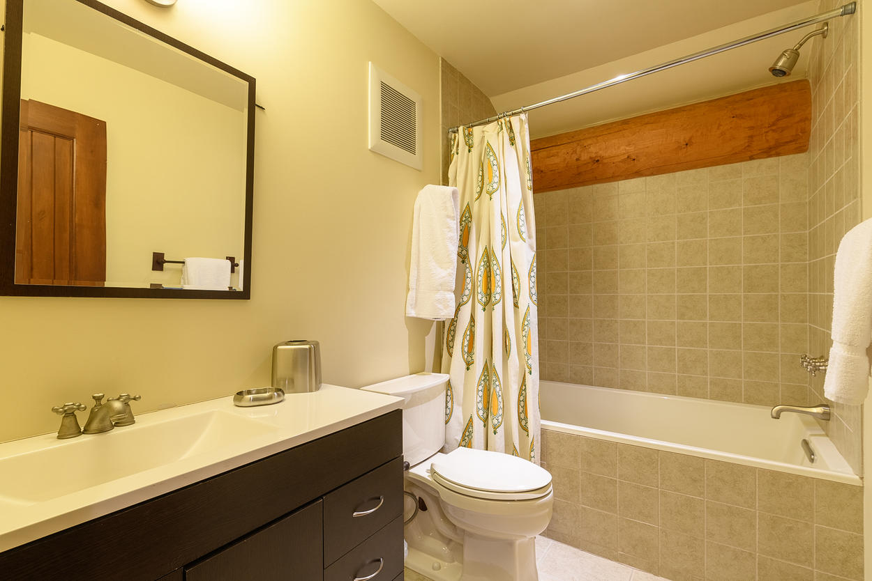 There's a shared bathroom in the guest house with a shower/tub combination.